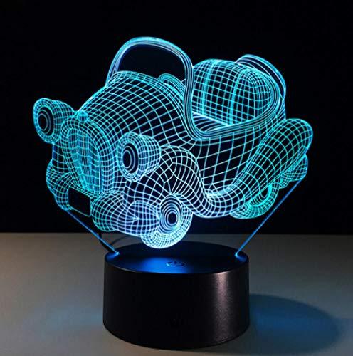 Joplc Retro Schaukelwagen 3D Nachtlicht Acryl Platte LED Schreibtisch Tischlampe 3D Illusion Lampen für Jungen Geschenke 145