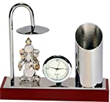 Ganesh Ji Crystal Showpiece Figurine with Umbrella, Classic Table Clock & Stylish Pen Stand - Brass & Stainless Steel Spiritual Decor Item in Silver Plating - Corporate & Diwali Gift (Model 365 WB)