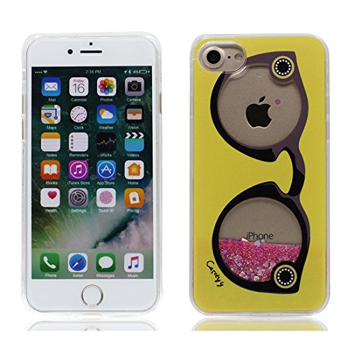 iPhone 7 Plus Custodia, Case iPhone 7 Plus Copertura 5.5, TPU Liquido Floweing Bing Bling Nuoto Brillante Cover, Shock Graffi Prova di polvere [ Cartoon anatra duck ] Color 4