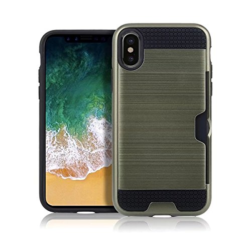 iPhone X Handycover, MOONMINI für iPhone X Dual Layer Brushed Textured Hybrid Hülle Hard PC Weich TPU Stoßfest Back Abdeckung Full Protection Schutzhülle Shell mit Kartenschlitz Rot Armeegrün
