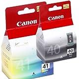 *** Kombi Pack 1x Original Canon Tintenpatrone PG 40 & 1x Original Canon Tintenpatrone CL 41 für Canon Pixma MX 300, MX 310. - BLACK, COLOR - Leistung: 16ml / 12ml. *** Ti-Sa®