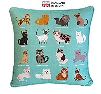 ROYAL CAT Breeds Original Design UK Handmade, 100% Cotton Cushion Complete with Inner Pad Included, Home Decor Cushion, Adorable Cat Print Cushion, Children's Cushion, Sofa Throw Pillow, Bedroom Fun Cushion, Stylish iPad Cushion, Unique Gift for Friends,