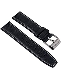 Festina Uhrenarmband Ersatzband Leder Band mit Kontrastnaht 23mm für alle Modelle F16585, Farbe:schwarz