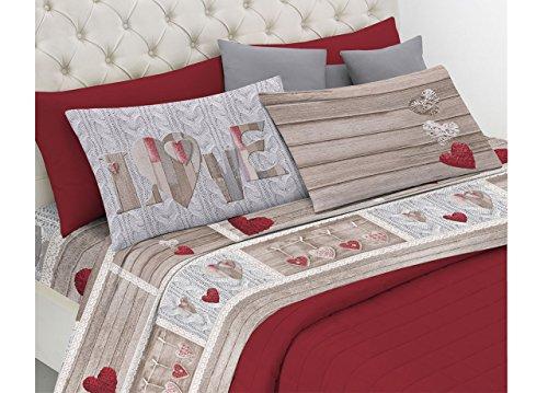 Biancheriaweb completo lenzuola linea pensieri delicati in 100% cotone disegno shabby love matrimoniale rosso