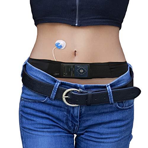 Cinturón para Bomba de Insulina Diabética de Glucology | Negro, Pequeña | Adecuado para Correr o Viajar - Discreto y Sostiene la Bomba de Insulina con Vista Fácil | Accesorios bomba de insulina