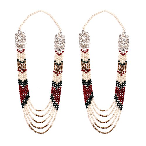 Anks Handicrafted Multi-Color Pearls & Stones Metal Varmala Jaimala for Unisex (Set of 2) VM-001