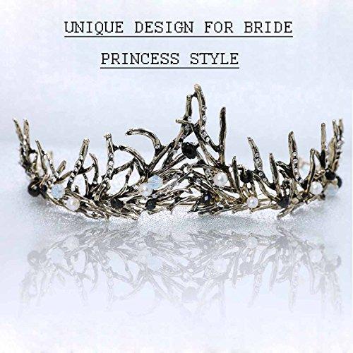 aukmla Krone Tiara Hochzeit Baroque Crown Queen für Hochzeiten Proms schönheitswettbewerbe Prinzessin Parteien Geburtstag & # xff08; Antik Golden & # xff09; (Gold Queen's Tiara)