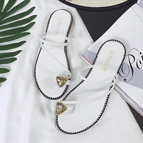 ZYUSHIZ Sandalen Hausschuhe Sommer Frau Outdoor minimalistischen Studenten Strand Koreanische Version Weiß 2Cm