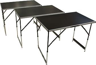 Tapeziertisch und Arbeitstisch, 3-teilig, höhenverstellbar, 100x60 cm pro Tisch, Stahlgestell, Mehrzwecktisch
