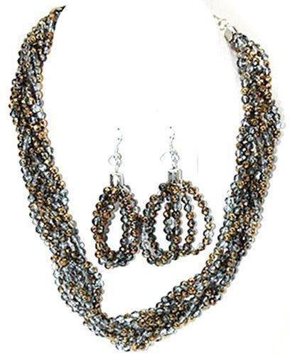 world-collana-da-donna-in-argento-con-perline-attorcigliato-4064-cm-16-collana-e-orecchini