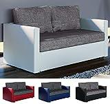 VCM 2er Schlafsofa Sofabett Couch Sofa mit Schlaffunktion Material- und Farbwahl Schwarz/Grau