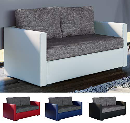 VCM 2er Schlafsofa Sofabett Couch Sofa mit Schlaffunktion Material- und Farbwahl Weiß/Grau