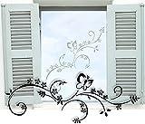 Fenstertattoo ~ Blumenranke Annika, Schnörkel, Blumen ~ glas002-58x22 cm Aufkleber für Fenster, Glastür und Duschtür aus Glas, Fensterbild, wasserfeste Glasdekorfolie in Sandstrahl - Milchglas Optik