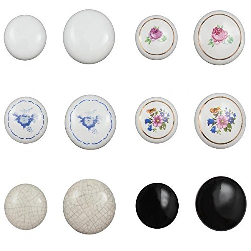 Keramikknopf Keramik Möbelgriff Knopf Porzellanknopf Porzellan Möbelgriffe Antik (Modell E, Durchmesser: 38mm)