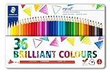Staedtler Ergosoft 157, Crayons de couleur tendres pour dessin et coloriage, Prise en main douce et confortable, Boîte en métal avec 36 couleurs lumineuses assorties, 157 M36