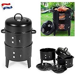 Sinbide Barbecue Smoker Fumoir 3 en 1 +Thermomètre et Grills pour Griller rôtir Fumer