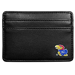 NCAA Kansas Jayhawks Leather Weekend Wallet, Black