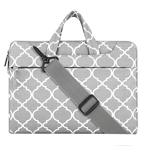 MOSISO Notebooktasche Kompatibel 15-15,6 Zoll MacBook Pro, Notebook Computer Quatrefoil Stil Laptop Schultertasche Sleeve Hülle Umhängetasche mit Griff und Schulterriemen, Grau