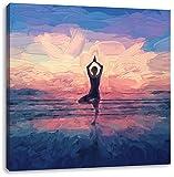 Yoga am Strand Kunst Pinsel Effekt, Format: 60x60 auf Leinwand, XXL riesige Bilder fertig gerahmt mit Keilrahmen, Kunstdruck auf Wandbild mit Rahmen, günstiger als Gemälde oder Ölbild, kein Poster oder Plakat
