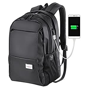 Mens School Backpack Bookbags for College Student Laptop Backpack with USB Charging Port for Teen Boys Girls (Black-15.6 USB)