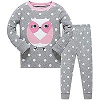 DAWILS Girls Owl Pyjamas Long Sleeve Cotton Pjs Sets Kids Nightwear Sleepwear Childrens Long Sleeve 2 Pieces Clothes 2-3 Years Grey
