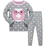 DAWILS Mädchen Schlafanzug Grau Eule Langarm Zweiteiliger Schlafanzug Kinder Herbst Winter Bekleidung Nachtwäsche Owl Pyjama Set 122