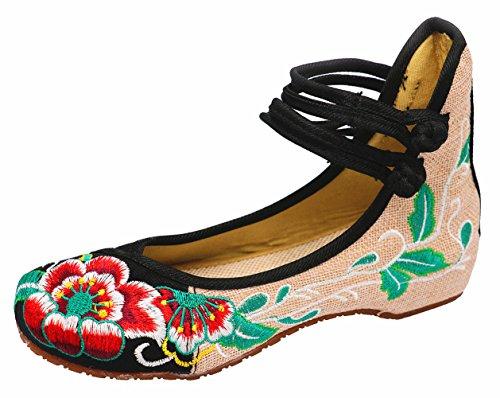 Icegrey Scarpe Donna Ballerine Ricamato A Mano Etnica Ricami Floreali Con Cinghietti Caviglia Slip On Scarpe Nero