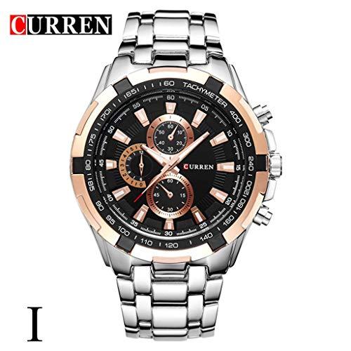 Mode Herren Uhren Geschäft Wasserdicht Simulierter Quarz Uhr Mondphase Schwarz Edelstahl Mesh-Gürtel Armbanduhren 5670H