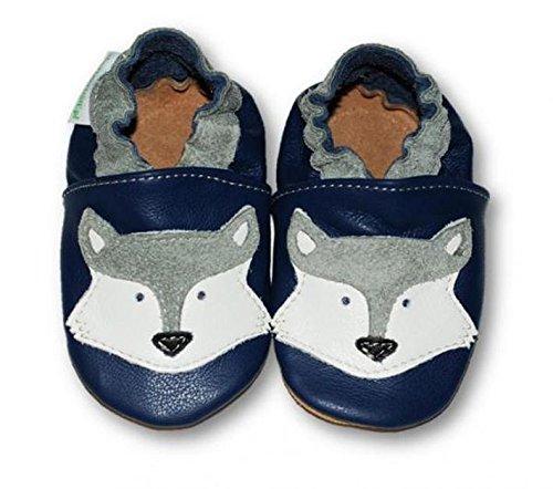 Fiorino Leder-Krabbelschuhe Babyschuhe Lauflern-Schuhe in blau mit gelben Sternen Motiv Größe 25 / 26 Fuchs Blau
