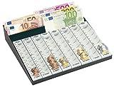 Wedo 160790037 Geld-Zählbrett kombiniert, Metallrahmen, 8 herausnehmbare Münzrillen, 3 Geldscheinfächer, rutschfeste Gummifüße, 27,8 x 27 x 6 cm, schwarz / lichtgrau