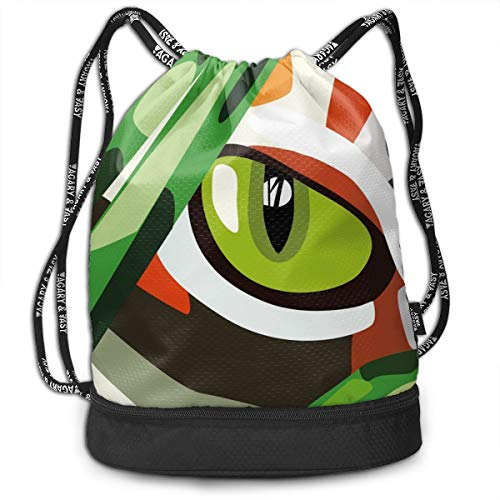 LULABE Printed Drawstring Backpacks Bags,Wild Feline Cat Tiger Eye Behind Bushes Abstract Nature Dangerous Predator Vibrant Art,Adjustable String Closure