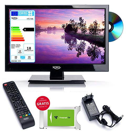 netshop 25 Wohnmobil Camping LED TV Fernseher Xoro HTC 1546 40 cm (15 Zoll) + FREENET CI+ Modul (3 Monate Gratis) HD, DVD Player, USB Mediaplayer, PVR Ready, Triple Tuner DVB S2 / T2 / C / 12V / 230V