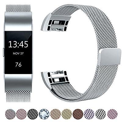 HUMENN Edelstahl Handgelenk Ersatzband fuer Fitbit Charge 2 Luxus Armband - Ersatzband Armbänder mit Starkem Magnetverschluss für Fitbit Charge 2 Klein Groß