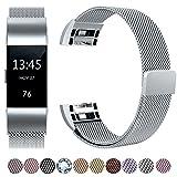 HUMENN Für Fitbit Charge 2 Armband, Luxus Milanese Edelstahl Handgelenk Ersatzband Smart Watch Armbänder mit Starkem Magnetverschluss für Fitbit Charge 2, Small Silber
