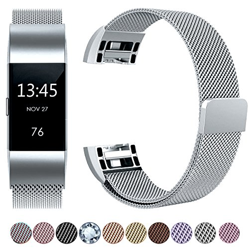 Großes Armband (Fitbit Charge 2 Armband, HUMENN Luxus Milanese Edelstahl Handgelenk Ersatzband Smart Watch Armbänder mit Starkem Magnetverschluss für Fitbit Charge 2, Small Silber)