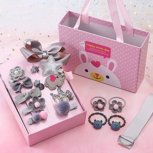 Haarschmuck Mädchen 18 Teilig mit Geschenkbox - Haarschmuck für Hochzeit - Geschenk-Set aus Haarspangen Haarklammern Haargummis für Babys - Haar Styling-Set - Haarschmuck für Kleinkinder