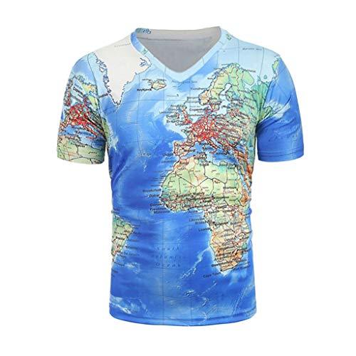 Tee Shirt Homme 3D Imprimé CIELLTE 3D Imprimé Carte du Monde CréAtif T-Shirt à Manches Courtes T-Shirts Tshirt DrôLe à Col en V pour Hommes VêTements D'éTé Tops