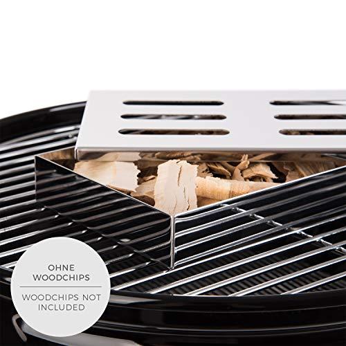 51b%2B69bWUIL - Blumtal Smoker Räucherbox aus rostfreiem Edelstahl - Gas-Grillzubehör oder Holzkohlegrill, 20x13x3,5cm, Silber