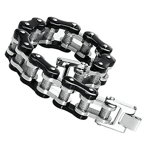 Men's Stainless Steel Heavy Strong Bracelet Bike Chain Black Gold Two Tone 23.4CM