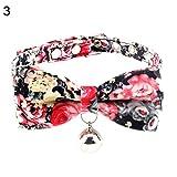 Bbl345dLlo Hundehalsband, mit Schleife, verstellbar, für Katzen, Welpen, Hundehalsband, mit Glöckchen, Blumenmotiv