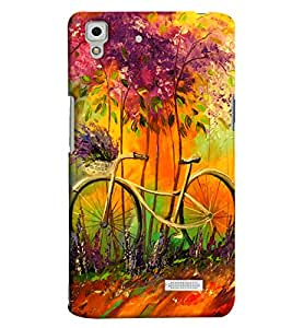 Clarks Bicycle Glass Painted Hard Plastic Printed Back Cover/Case For Oppo R7