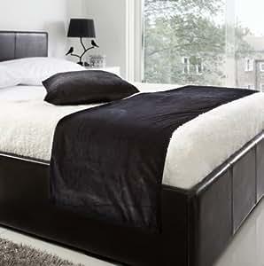 chemin de lit en velours noir 48 3 x 198 1 cm 48 cm x 198 cm cuisine maison. Black Bedroom Furniture Sets. Home Design Ideas