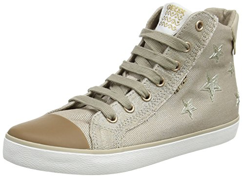 Geox Mädchen J Kilwi Girl C Hohe Sneaker, Beige, 34 EU Hohe Reißverschluss