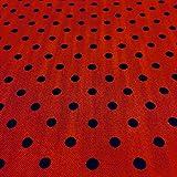 Patchworkstoff - Baumwollstoff - Stück: 150 cm Länge x 110 cm Breite | Rot mit schwarzen Punkten