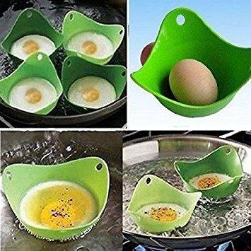 tuzech Pochierpfanne, Öl frei Tassen mit Ring Standers, für Mikrowelle oder Herd Ei Kochen,, BPA-frei, 4Stück (Ei-ring Mikrowelle)