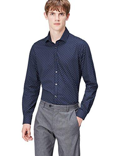 Find. camicia slim a fantasia con stelle uomo, blu (navy), medium