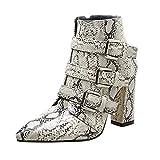 BaZhaHei-Zapatillas, Cinturón de Invierno Europeo y Americano con Hebillas Gruesas y Botas Silvestres Puntiagudas del Patrón Piel de Serpiente de Mujeres del Dedo del pie Cremallera Hebilla Zapatos