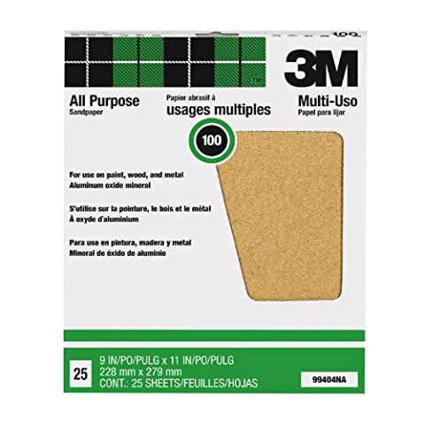 3m 25 Count 100C Grit Pro-Pak Paint & Rust Removal Sandpaper Sheets 99404NA - Pack of 25
