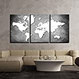 3 Panels Wall Painting World Map grey background   Multiple Frames Split Painting on 5 mm White Sun board   Drawing Room   Tv wall   Office   Top Quality   Wall Decor   Home   Ready to hang   HD Print By Paper Plane Design (Large - 24 x 48 inch)
