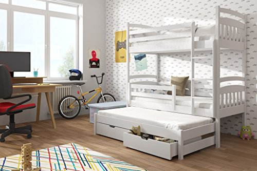 Brand New Wooden Bunk Bed with Trundle and Storage ALAN in White with Mattresses sold by Arthauss (RIGHT)